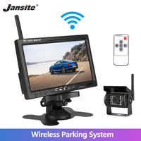 Jansite 7 Wireless Car Monitor TFT LCD Car Rear View Camera HD monitor for Truck Camera support Bus RV Van DVD reverse camera