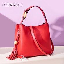 цены Women Leather Handbags Simple Tassels Genuine Leather Bag High Quality Bucket Bag Luxury Handbags Women Bags Designer