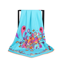 New Arrival Fashion Women soft satin brand scarf / Printing quare Twill silk scarves 100cm Gifts Wholesale