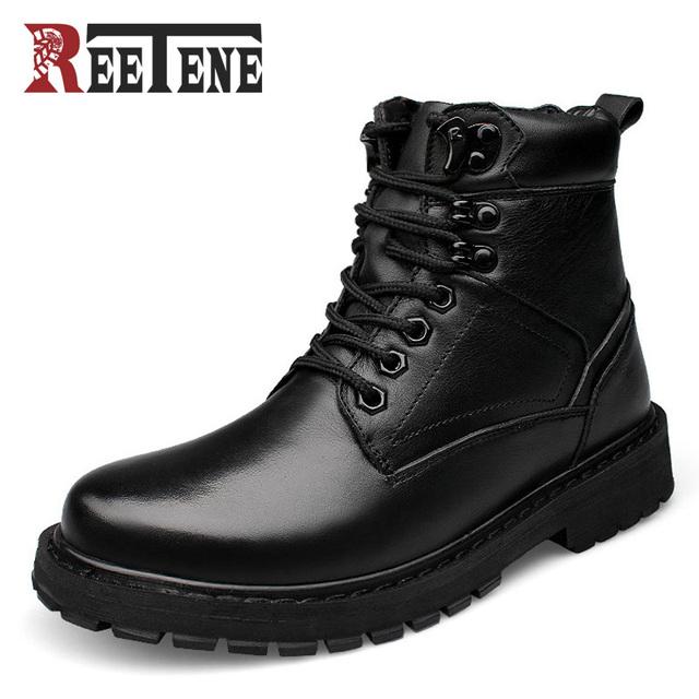 Estilo británico de Moda de Los Hombres Botas de Cuero Genuino Loco Martin Hombres Botas Otoño Invierno Botines Zapatos de Trabajo A Prueba de Agua Senderismo