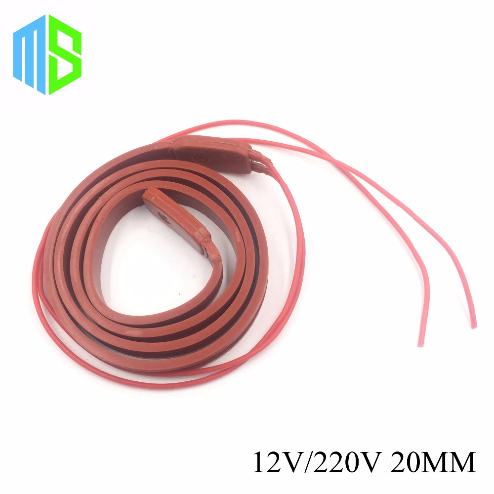 20MM 12V~220V Flexible Belt Silicone Rubber Heating Cable Silica Gel Heater Trace Wire Freeze Protection Water Pipe/Car/Battery