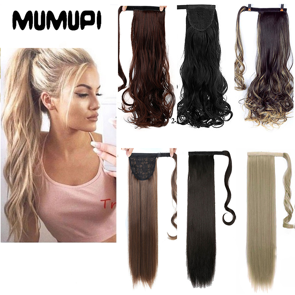 MUMUPI Women Fashion Thick Hair Wrap Around Ponytail 1Pc Clip In PonyTail As Human Extension   headwear