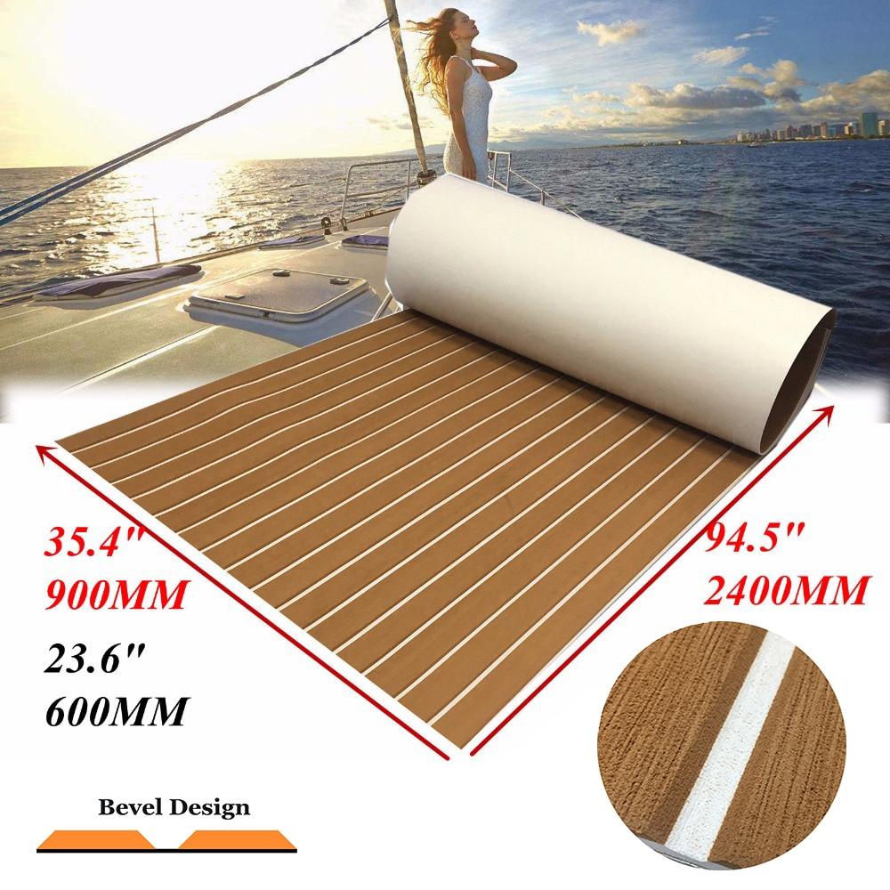 Feuille de platelage de teck d'eva de 2 tailles pour le tapis marin de plancher de Yacht de bateau a amélioré le brun clair dans les accessoires blancs de bateau