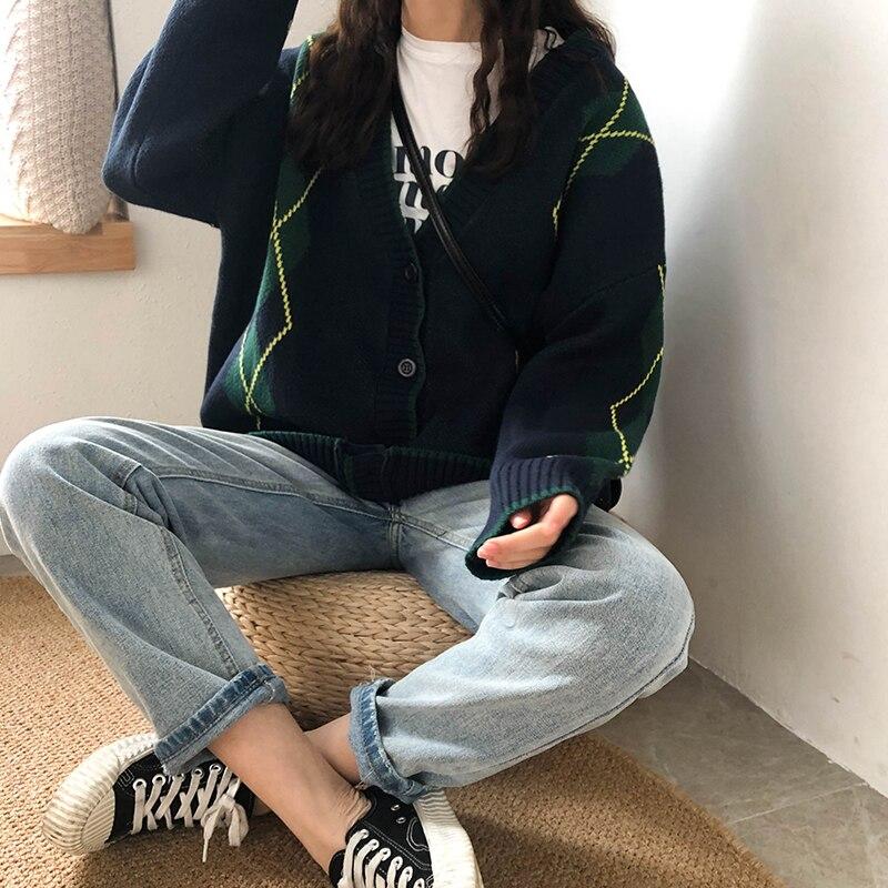 3 цвета 2019 Весна и Осень корейский стиль цветной лоскутный v образный вырез свитер женский вязаный кардиган женский (X198)