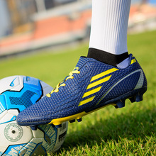 2020 New Men Kids Boys Ag Outdoor Lawn Soccer Shoes FG Football Boots Training Futsal Cleats Children Long Spikes Sneakers 30-45