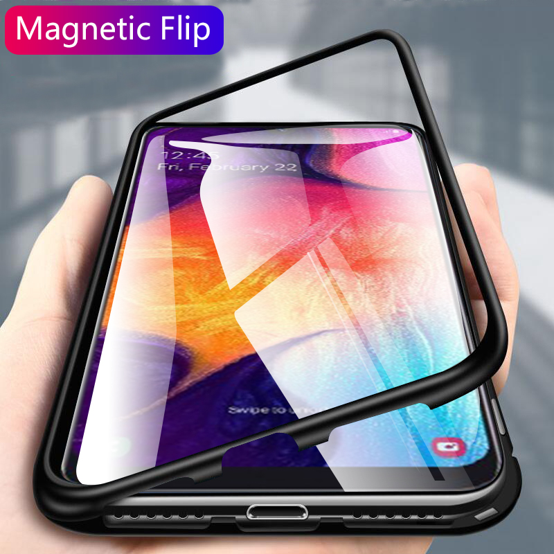 Magnetic case for Samsung Galaxy a50 a30 Case Clear Glass Hard Back Cover on the for Galaxy a 50 30 Metal Frame Protective Coque image