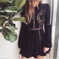 2016 Summer For love lemons Women Dress Casual Mini O-Neck Short A Line Dress Party Lace Long Sleeve Hollow Out  Elegant Dress