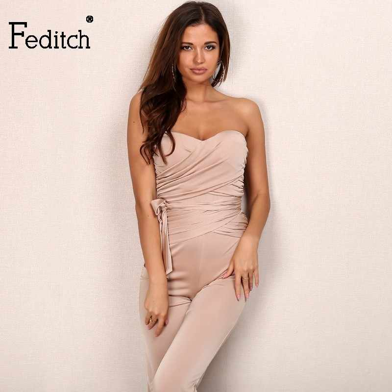 836f46aa32e2aa Feditch 2017 Women New Fashion Rompers Jumpsuit Womens Sexy Sleeveless  Playsuit Bodysuits Elegant Bandage Jumpsuits Hot