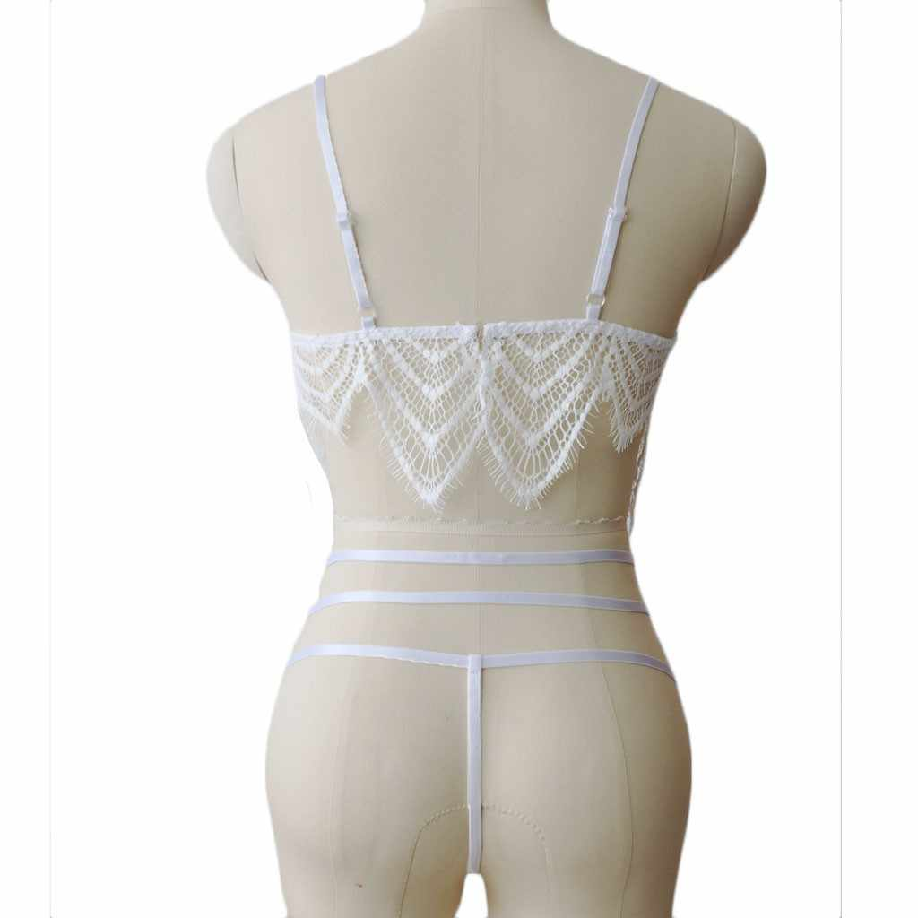 Blanco negro encaje Teddy Sexy bordado ropa interior pestañas encaje 2 piezas Lencería conjunto sujetador Sexy + 2019 Tanga Mujer disfraces # YL5