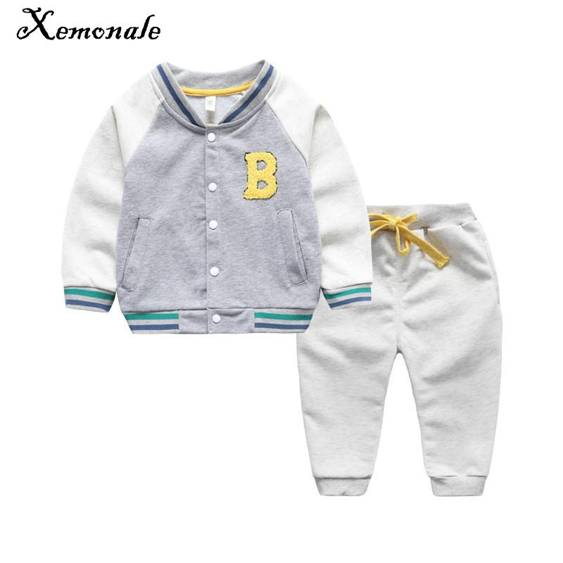 Xemonale Children Sports Suit Boys Clothes Spring Autumn Coat Full sleeve pants Letter  2017 New Active Single Breasted fashion штаны для мальчиков 2014 new fashion spring autumn children pants 1 ccc325 casual camouflage trousers for boys sports