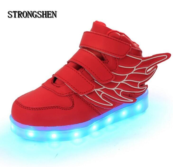 Strongshen летние детские дышащие Спортивная обувь с легкой Спорт LED USB светящиеся освещенные Обувь для детей Обувь для мальчиков Повседневное Обувь для девочек Туфли без каблуков
