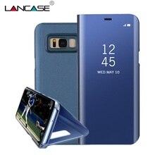 Lancase для Samsung Galaxy S8 случае зеркало Смарт сна проснулся вид покрытие pu кожа флип чехол для Samsung S8 плюс Чехол-подставка