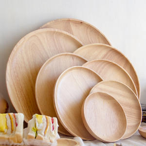 SIBAOLU Round fruit Snacks tea tray storage wood plates