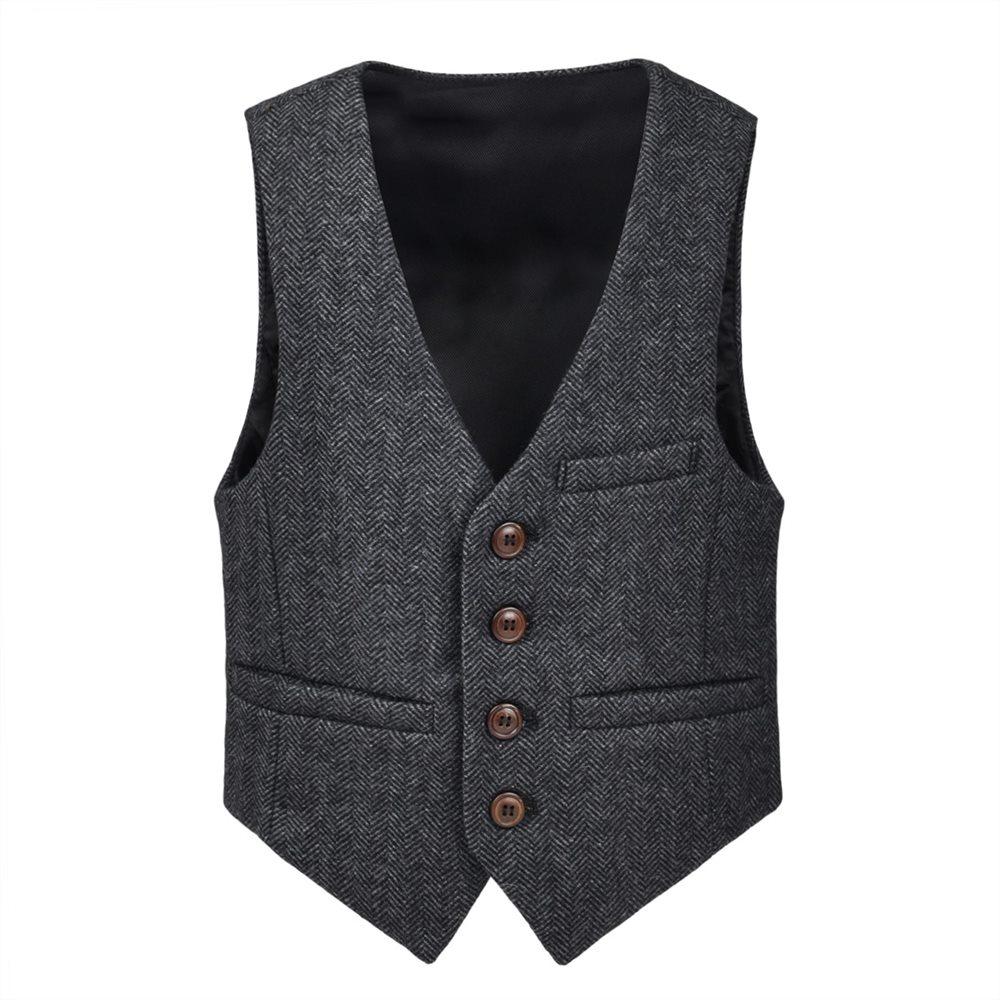 JANGOUL Woolen Tweed Boy Girl Herringbone Waistcoat Pockets Buttons V Collar Vests Kids Baby Infant Toddler Child Youth 069