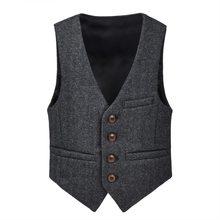 JANGOUL Woolen Tweed Boy Girl Herringbone Waistcoat Pockets Buttons V Collar Ves