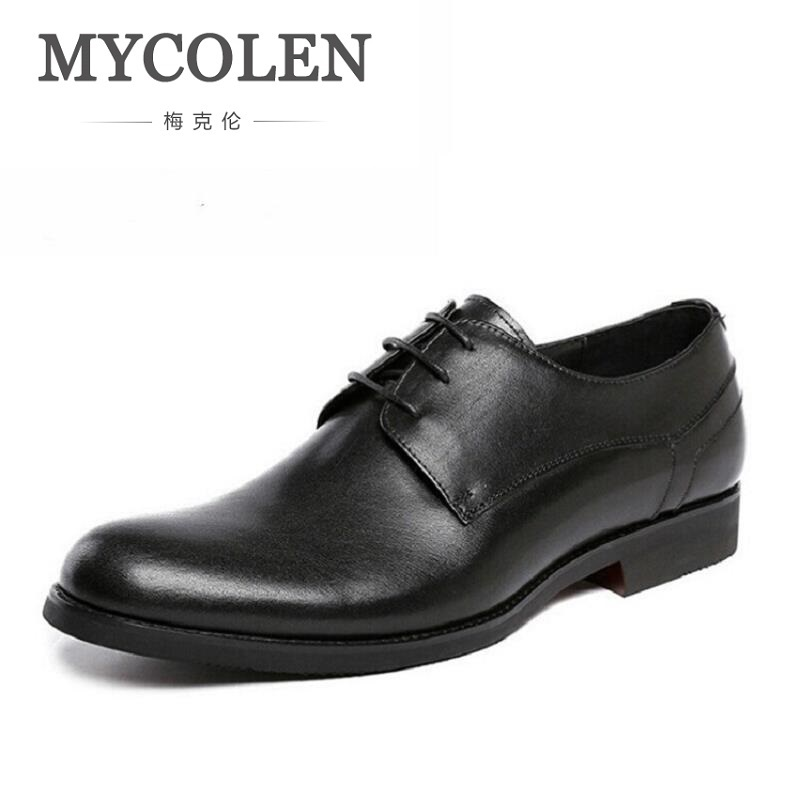 MYCOLEN Brand Genuine Leather Men Shoes Dress Black Wedding Casual Male Shoes Round Toe Luxury Designer Men Business Derby Shoes new arrival men casual business wedding formal dress genuine leather shoes pointed toe lace up derby shoe gentleman zapatos male