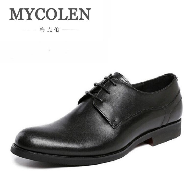 MYCOLEN Brand Genuine Leather Men Shoes Dress Black Wedding Casual Male Shoes Round Toe Luxury Designer Men Business Derby Shoes ...