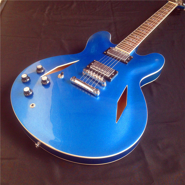 Cool Jazz Electric Guitar With Left Handed Dave Grohl Signature Metalic Blue Hollow Body
