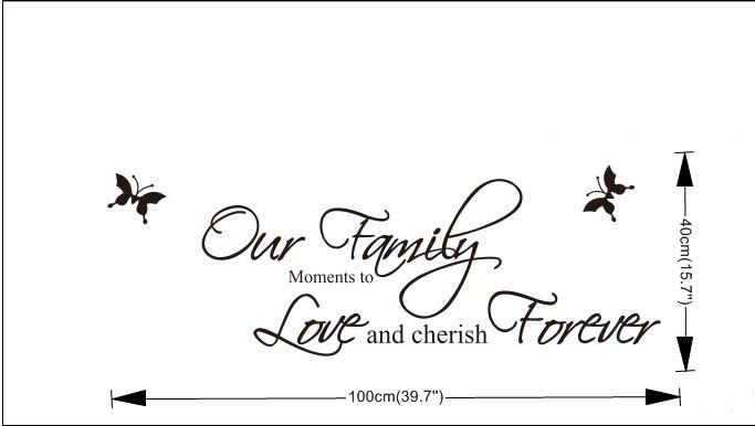 Voorkeur wall decals 8013 Our Family Quote wholesale Butterfly wallpaper  @BQ-34