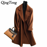 QingTeng Winter Warm Cashmere Coat Women Woolen Coat Double Breasted Autumn Loose Female Thicken Overcoat Fashion