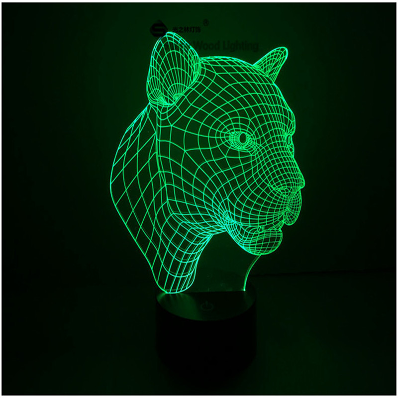 Leopard touch switch LED 3D lamp ,Visual Illusion 7color changing 5V USB for laptop, desk decoration toy lamp