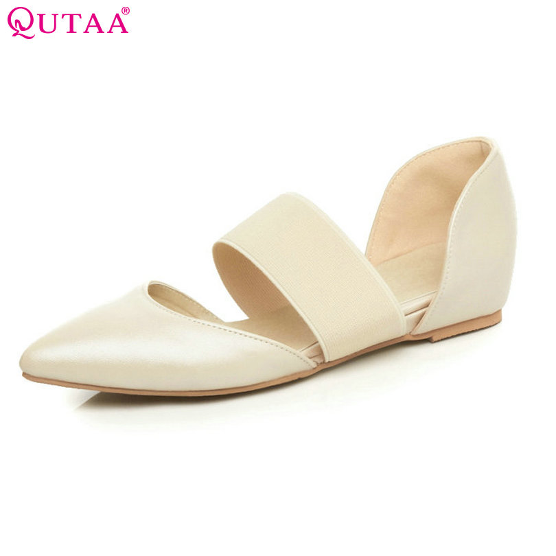 QUTAA 2017 Ladies Summer Shoes Pointed Toe Heel Woman Flat Shoes PU Leather Black Women Ballet Flats Size 34-43 weweya 2017 summer candy colors ladies flats fashion pointed toe shoes woman new flat shoes women plus size chaussure femme