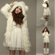 2019 Women Sweatershirt Hoodies Coat Warm Fleece Hoodie Fashion Bear Ears Hooded Fur Thick winter costume office lady girl