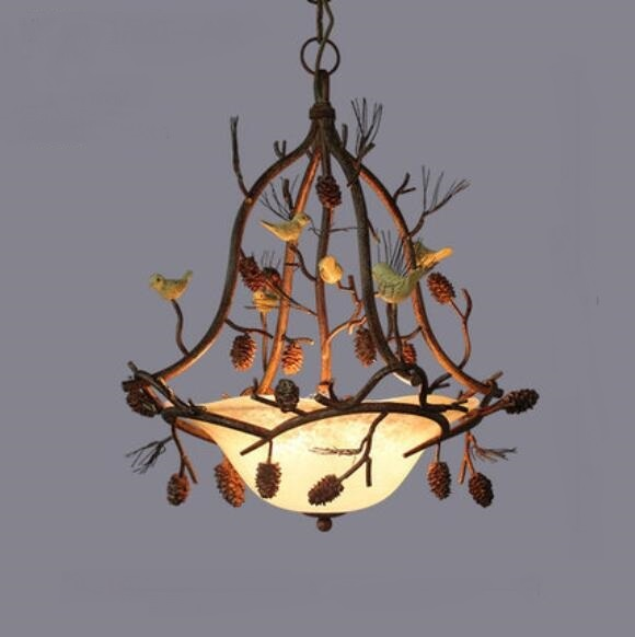 American country RETRO art pine cone chandelier European style creative restaurant living room bedroom iron lighting LO7124 YM цена и фото