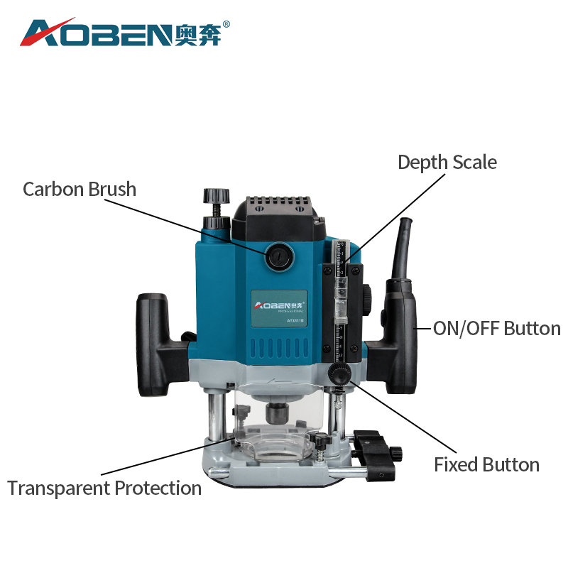 AOBEN Elektrische Holz Trimmer Router 1800W Trimmer Maschine 1/2 Spannzange Hand Carving Maschine Holz Router Power Tools