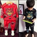 2016 New Kids Clothing Set Boys Spring Tracksuit Tiger & Big Eyes Printed Brand Boys Girls Casual Clothes Set Enfant Garcon