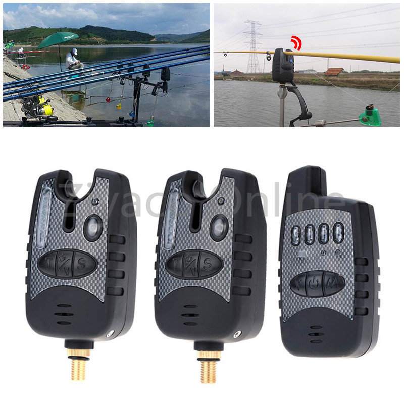 High Quality Carp Fishing Alert Wireless Digital Water-resistant Rod LED Alarm Set 2 Fishing Bite Alarm 1 Receiver in Case old carp 1 4 galaxy bl multi led wireless fishing rod bite alarm with snag ears and tent light for carp fishing