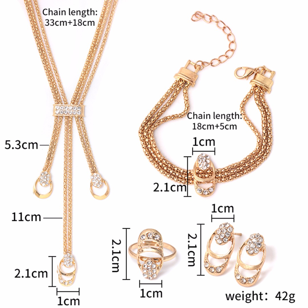 5fb4d816425de US $2.54 35% OFF|Hio Hop Gold Jewelry Sets Crystal Tassel Choker Necklace  Earrings Sets Ring Bracelet For Women Men Party Gifts-in Jewelry Sets from  ...