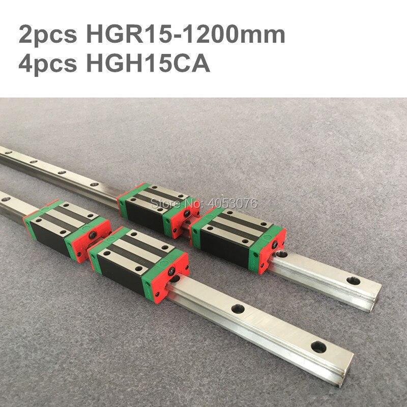 2 pcs linear guide HGR15 1200mm Linear rail and 4 pcs HGH15CA linear bearing blocks for CNC parts2 pcs linear guide HGR15 1200mm Linear rail and 4 pcs HGH15CA linear bearing blocks for CNC parts