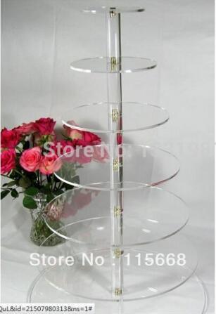 Gros papier de mariage tasses acrylique affichage festival autour du gâteau de sucre de mariage niveau 7 tier acrylique cupcake stand