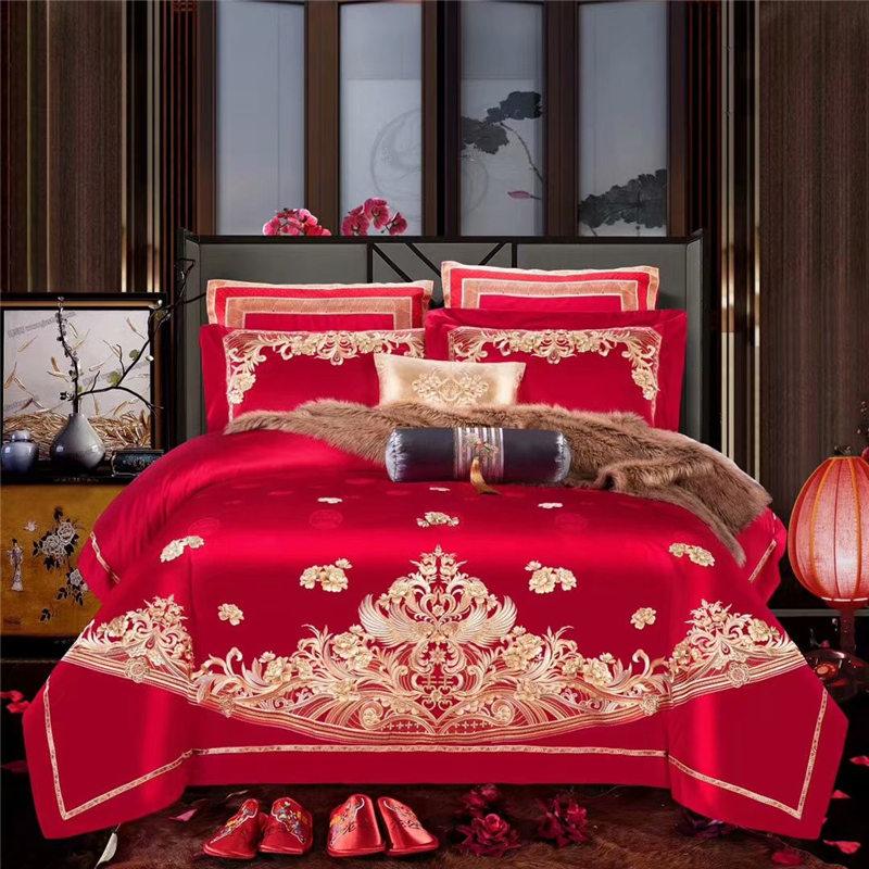 Luxury Egypt Cotton Jacquard  Wedding Bedding set Gold Embroidery Duvet Cover Bed Sheet Pillowcases Queen King size 4/6/8pcsLuxury Egypt Cotton Jacquard  Wedding Bedding set Gold Embroidery Duvet Cover Bed Sheet Pillowcases Queen King size 4/6/8pcs