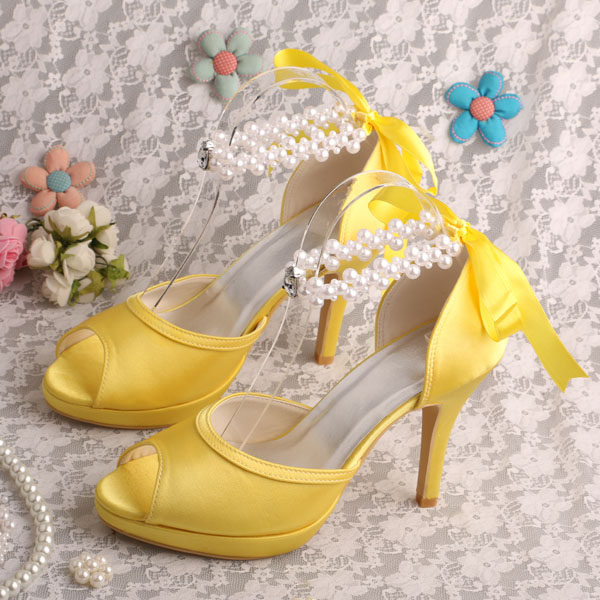 ФОТО Wedopus MW775 Yellow Prom Shoes for Women Ankle Strap Wedding Sandals Peep Toe Dropshipping