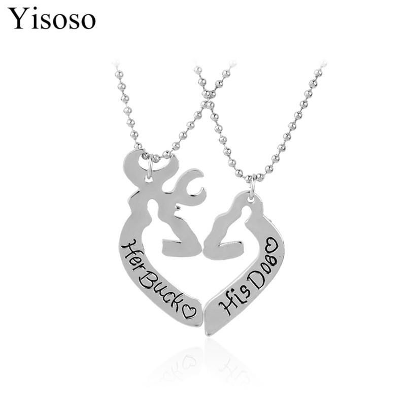 Yisoso Deer Hunting Her Buck His Doe Necklaces Kissing Heart Minimalist Hollow Love Pendant Special Couples Gift Lovers XL075