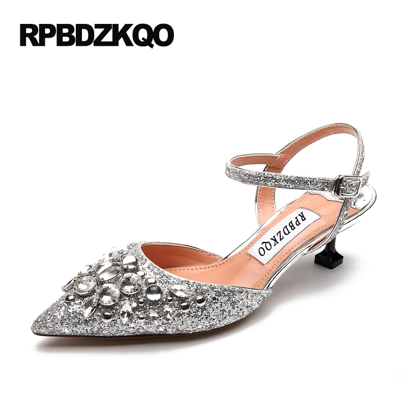 Cinderella Plus Size High Heels Pumps Glitter Bridal Slingback 9 40 Pointed Toe Stiletto Silver Sandals Shoes Women 6cm 2 Inch