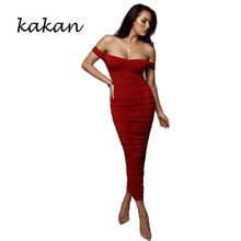 Kakan summer pleated dress sexy word collar off-shoulder pink yellow red black womens
