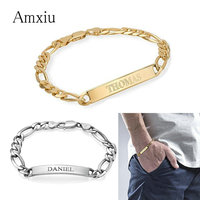 Amxiu Custom Silver Men Bracelet Engrave Name Bracelets For Lover Dad Gift Personalized Fashion Hand Jewelry ID Bracelet Bangles