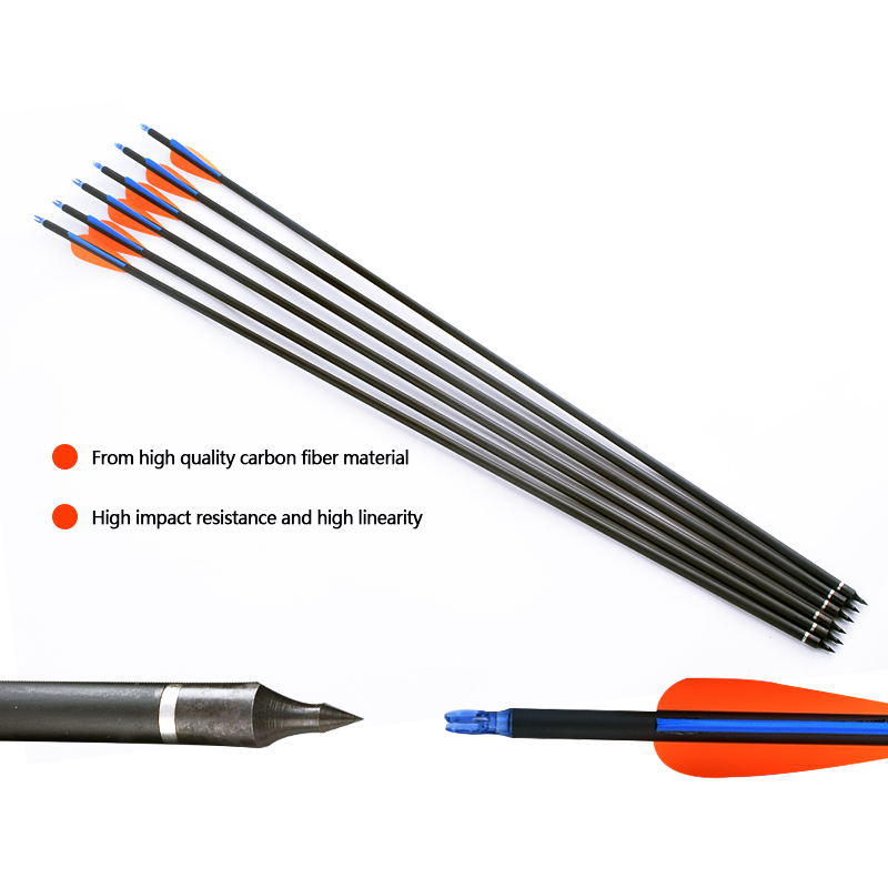 Image 3 - 6/12/24PCS 30 Inch Spine 500 Carbon Arrow Orange Blue Feather Replaceable Arrow Recurve Bow / Compound Bow Hunting Archery-in Bow & Arrow from Sports & Entertainment