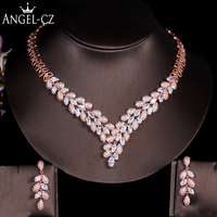 ANGELCZ Classic Cubic Zirconia Gold Color African Wedding Costume Big Statement Dubai Jewelry Women Necklace Earrings Sets AJ127