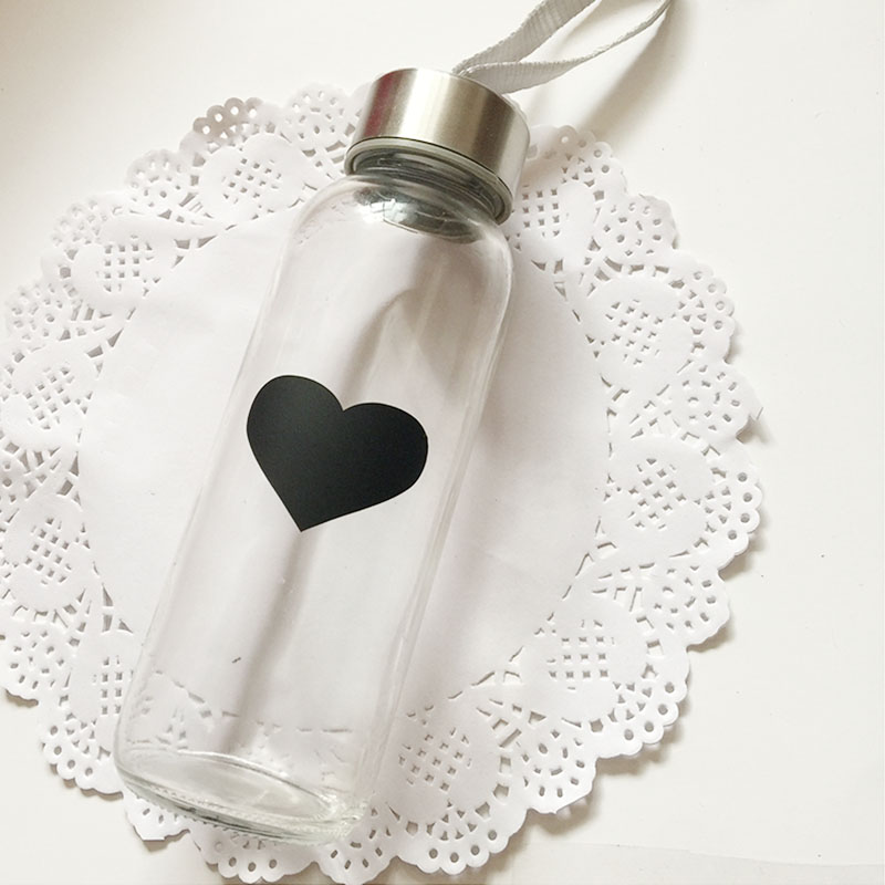 2016 гореща продажба 50бр черно сърце модел шапка писалка стикер чаша бутилка огледало декор етикети етикети етикети кухня буркан стена