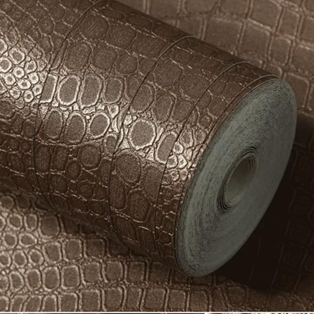 Dark Brown Crocodile Pattern Design Embossed Wallpaper Roll VInyl