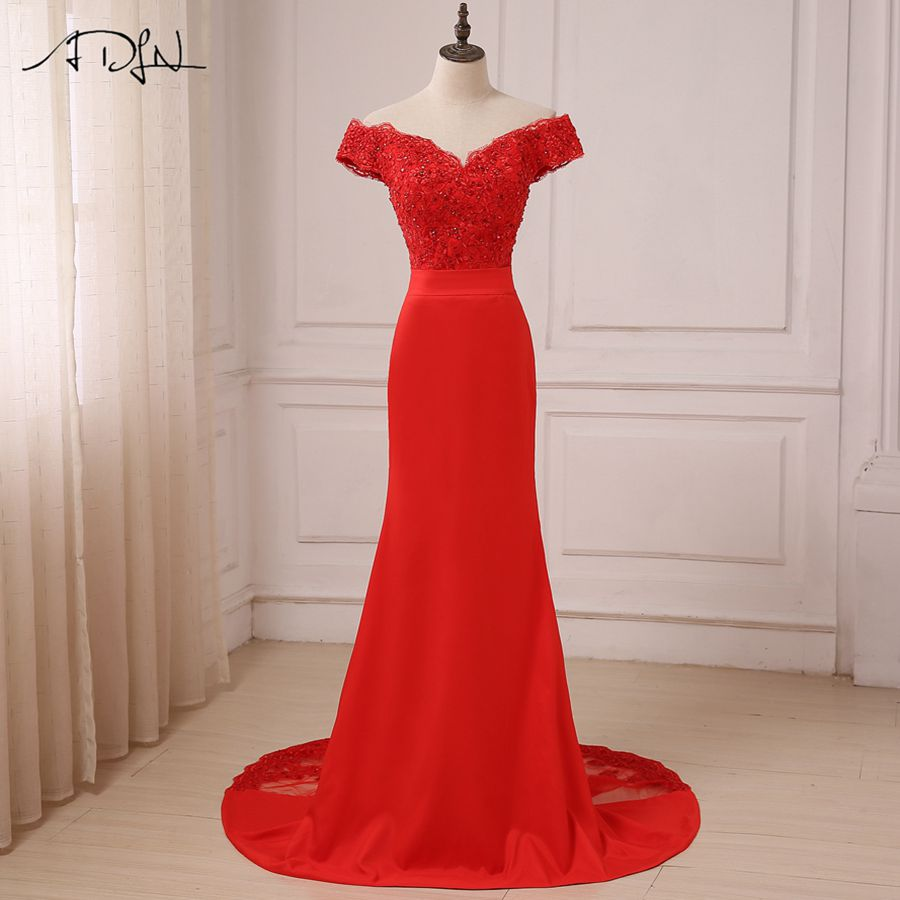 ADLN Red Sexy   Evening     Dress   2018 Cheap Off The Shoulder Beads Long Mermaid Formal Party Gowns longo
