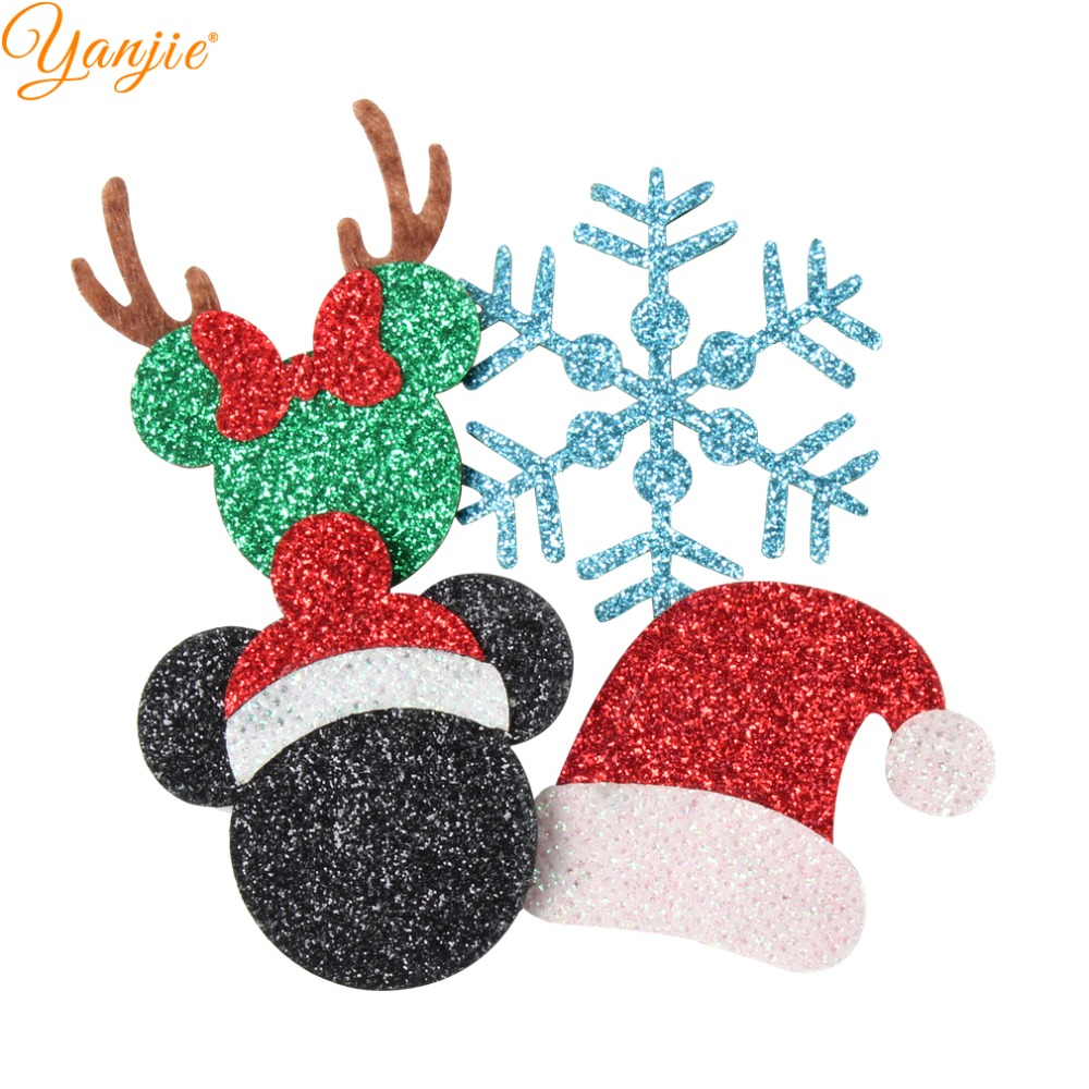 12pcs/lot 2020 New Christmas Felt Pads Glitter Leather Minnie Hat Tree Snowflake Snowman Girl DIY Hair Accessories Headband