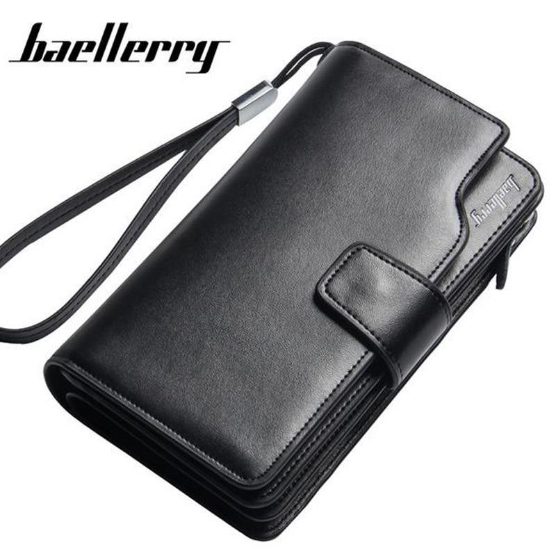 d3032ac93f29 BAELLERRY Genuine Leather Wallet Men Wallet Portefeuille Homme Card Holder  Male Cuzdan Cuzdan Letter Male Cuzdan Long Purse Gift