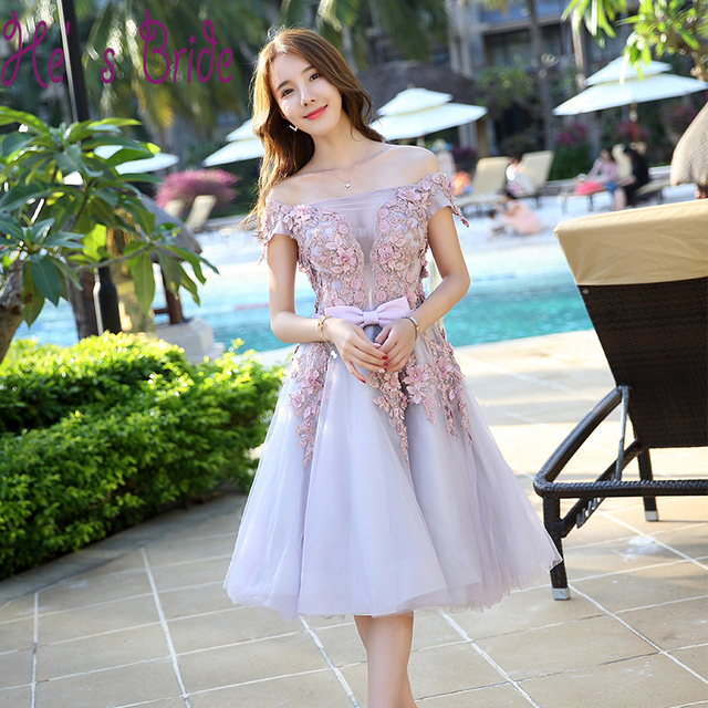 New Customized Cheap Lavender Short Dress Elegant Evening Party Gown
