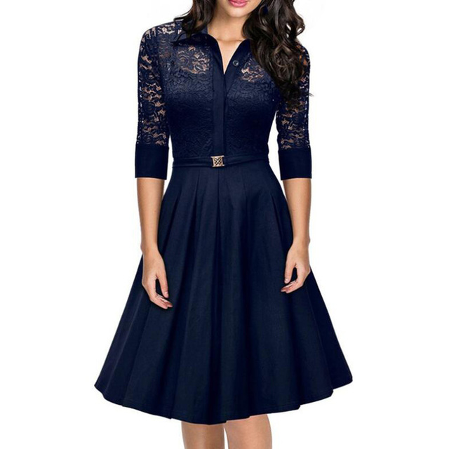 Elegant Three Quarter Sleeve Lace Dress