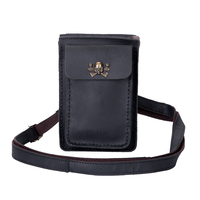 Vintage Men Crazy Horse Genuine Leather Waist Packs Brown Black Cell Phone Bag Male Skull Leather Day Clutch Hook Two Zipper